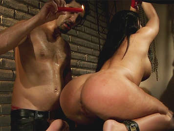 Extreme sex assed latina brunette tied with her buttocks covered of hot wax an sticky sperm