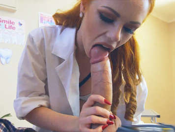 Dr. Ella Huges a redhead with beautiful tits and pink pussy swallowing a huge cock