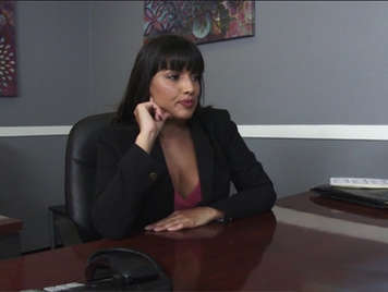 Sex in the office with a busty brunette secretary