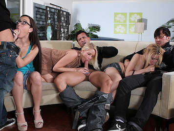 Sex party with three young single women, wanting cock at home of a colleague