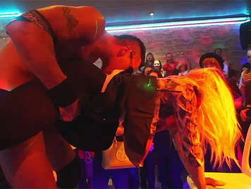 Wild bachelorette party with a hundred horny girls