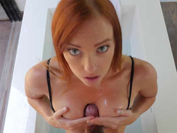 Tit fucking and sex with a mature redhead with blue eyes
