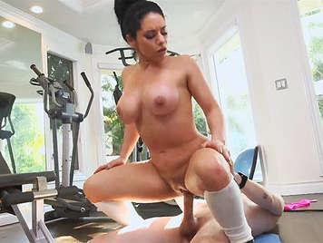 Exuberant Italian busty milf fucked in the gym