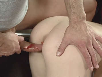 To deflowered a small blonde who bleeding from her pussy when is to fucked on all fours