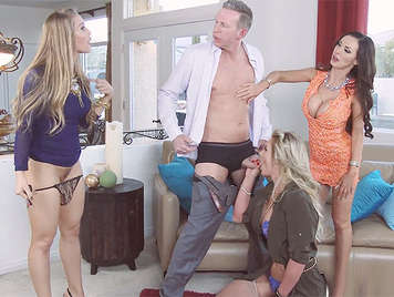 Three beautiful women moneyed posh sucking his cock and fucking chauffeur of the house