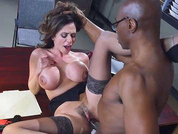 mature busty secretary and his black boss fucks big cock