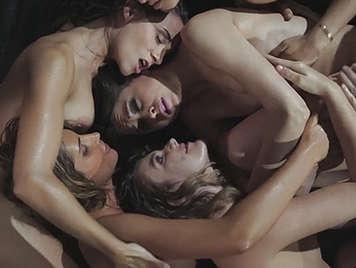 Orgy between girls in lesbian porn video