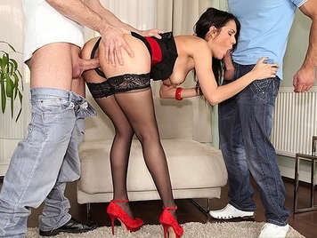 Samia Duarte gets fucked between two guys in all her holes