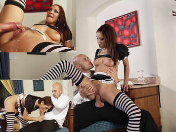 Horny maid sucking and riding a cock that shoots cum on her hairy pussy