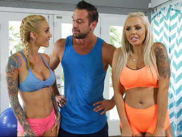 Two busty blondes doing a blow job, to his aerobics coach