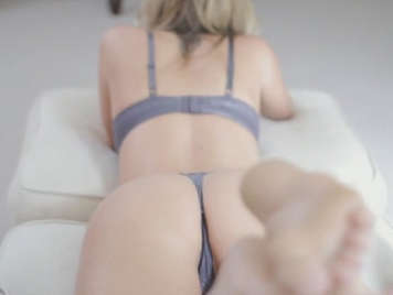 sex with seductive busty blonde in thong