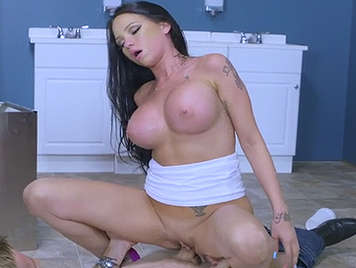 Sex in the high school toilets with a very busty partner