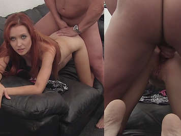 Casting porn to double camera to an innocent young redhead
