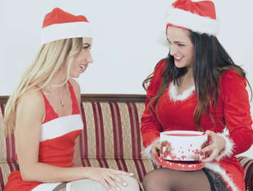 Christmas lesbian between a Russian and a Spanish