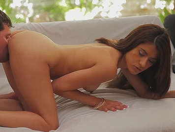Sex on the couch with a brunette in porn video glamcore