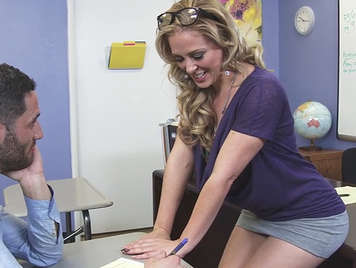Sex in the classroom with a mature teacher and miniskirt