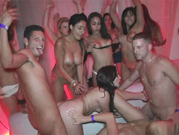 Crazy and wild sex  party in a nightclub