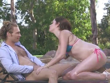 Poolside sex party with hot girl in bikini
