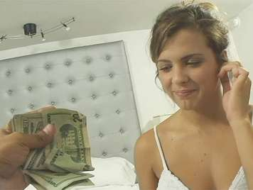 Busty blonde fucking and cock eating a handful of money