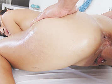 Fucking a young latina girl with a juicy pussy, smeared in oil on all fours