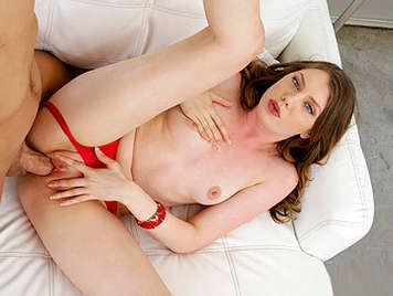 Fucking a sexy babe with blue eyes in red panties With her legs open and rubbing her pussy