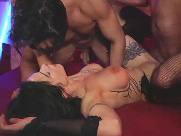Trio with a big tits brunette with tattooed body