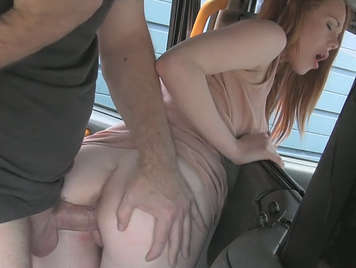 Taxi driver fucking a young and pretty client redhead