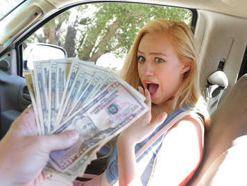 Blonde Teen accepts money for sucking and fucking her neighbor's thick cock in the car