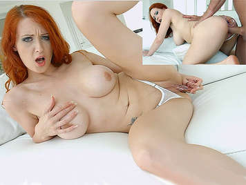 Busty redhead babe in thong plays with a dildo in her cunt until is fucked by her asshole