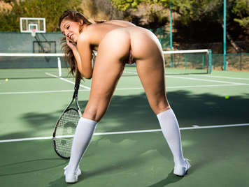 Little school-girl tennis player with nice tits fucking on the court with her pussy filled with cum