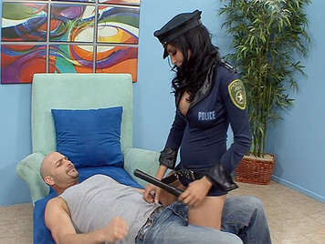 Brunette busty police officer sexually abusing a thief