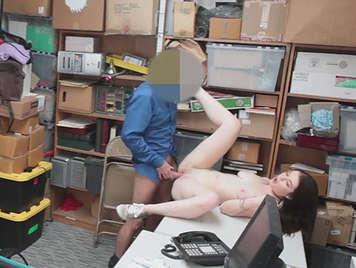 Young girl paying the shopkeeper with sex