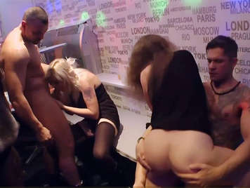 Euro Babes Fucking The Strippers In Public On Stage