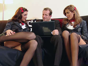 Two naughty schoolgirls fucked by the director who cums between her tits while they are sucking his cock