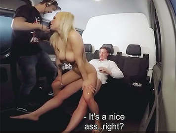 Fucking a German blonde with big tits and perfect ass in a bus