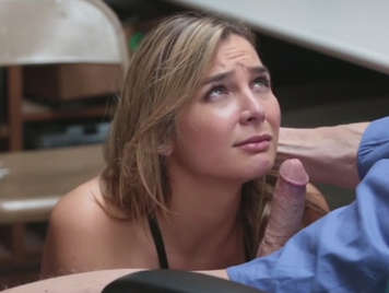 Shopkeeper fucking in the back room with a young lady