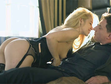 Sensual blonde babe in sexy lingerie fucked by a hard dick who shoots sperm like a volcano