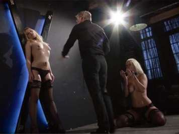 Extreme sado masochistic sex, lashing out at two beautiful blonde sex slaves