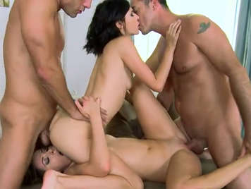 Scrambled in a quartet with two horny babes