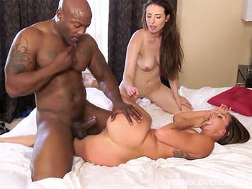 Interracial threesome between two young girls and a black
