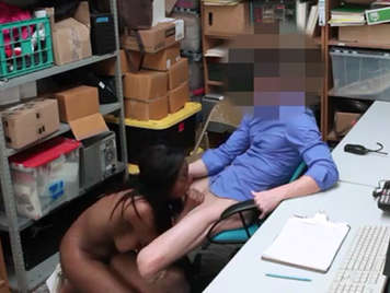 Hidden camera filming black girl fucked in the store