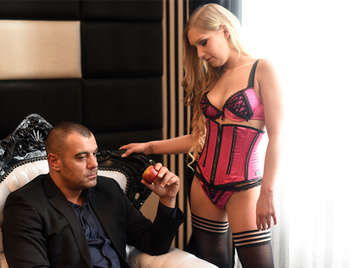 Russian gangster loves blond girls in sexy lingerie