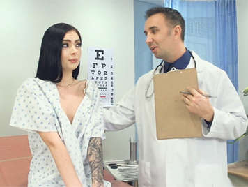 Slim brunette with hairy pussy blowing a doctor at her office