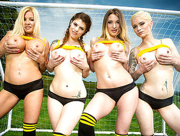 Fucking four busty girls soccer players under the goal