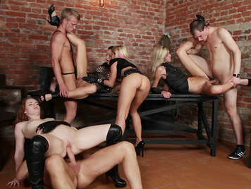 Extreme sex orgy in a dungeon of sadomasochism