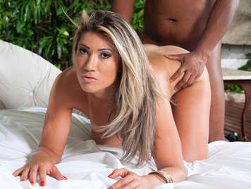 Busty brazilian blonde fucked on all fours gets a load of cum over her buttocks