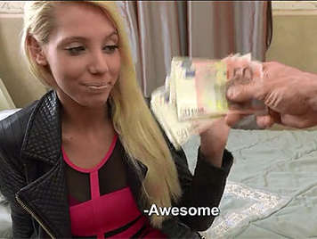 18 year old blonde teen seduced to fuck for money