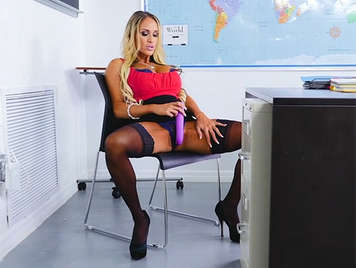 Busty teacher masturbates in class and ends up fucking with a student