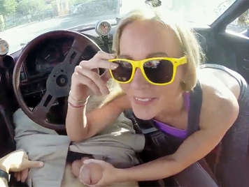 Blonde teen with natural tits and deepthroat sucks a big dick in a car