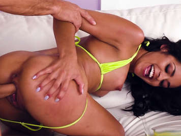 He cums in the mouth of a little Latina girl in a bikini after fucking her on all fours